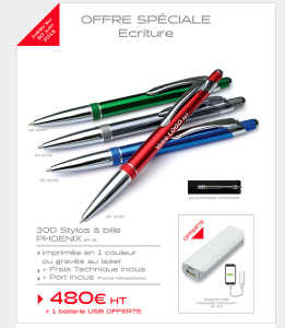 Promotion stylos publicitaires L'Objet de la Com' jusqu'au 30 juin 2015